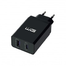 Nabíječka WG 2xUSB/PD 18W + Quick Charge 3.0 22,5W, černá