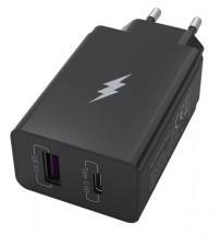 Nabíječka WG 2xUSB/PD 20W + Quick Charge 3.0 22,5W, černá