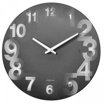 Nábytek 3D - hodiny, nástěnné, kulaté (tvrzený plast, černé)