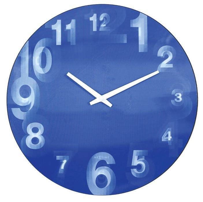 Nábytek 3D  - hodiny, nástěnné, kulaté (tvrzený plast, modré)