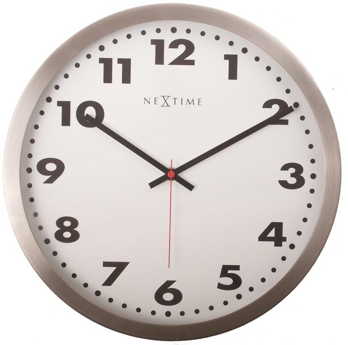 Nábytek Arabic - hodiny, nástěnné, kulaté (sklo, nerez, bílé)