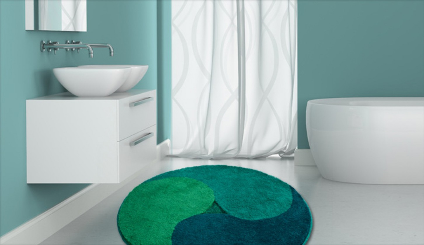 Nábytek Aum - Předložka kruh, 100 cm (zelená-smaragdová-petrolejová)