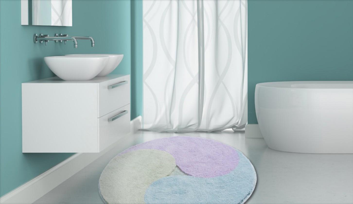 Nábytek Aum - Předložka kruh, 140 cm (nefritová-ledově modrá-šeříková)