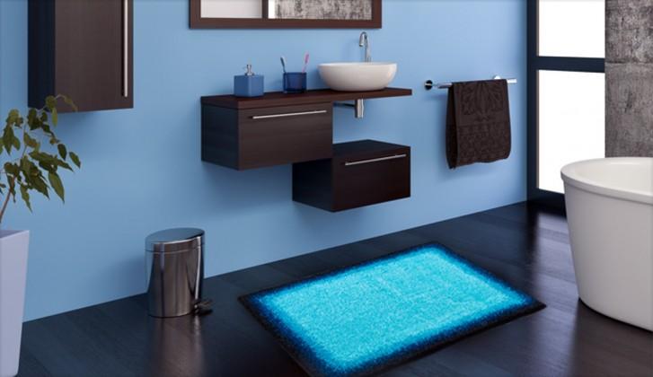 Nábytek Avalon - Koupelnová předložka 60x100 cm (ledově modrá-černá)