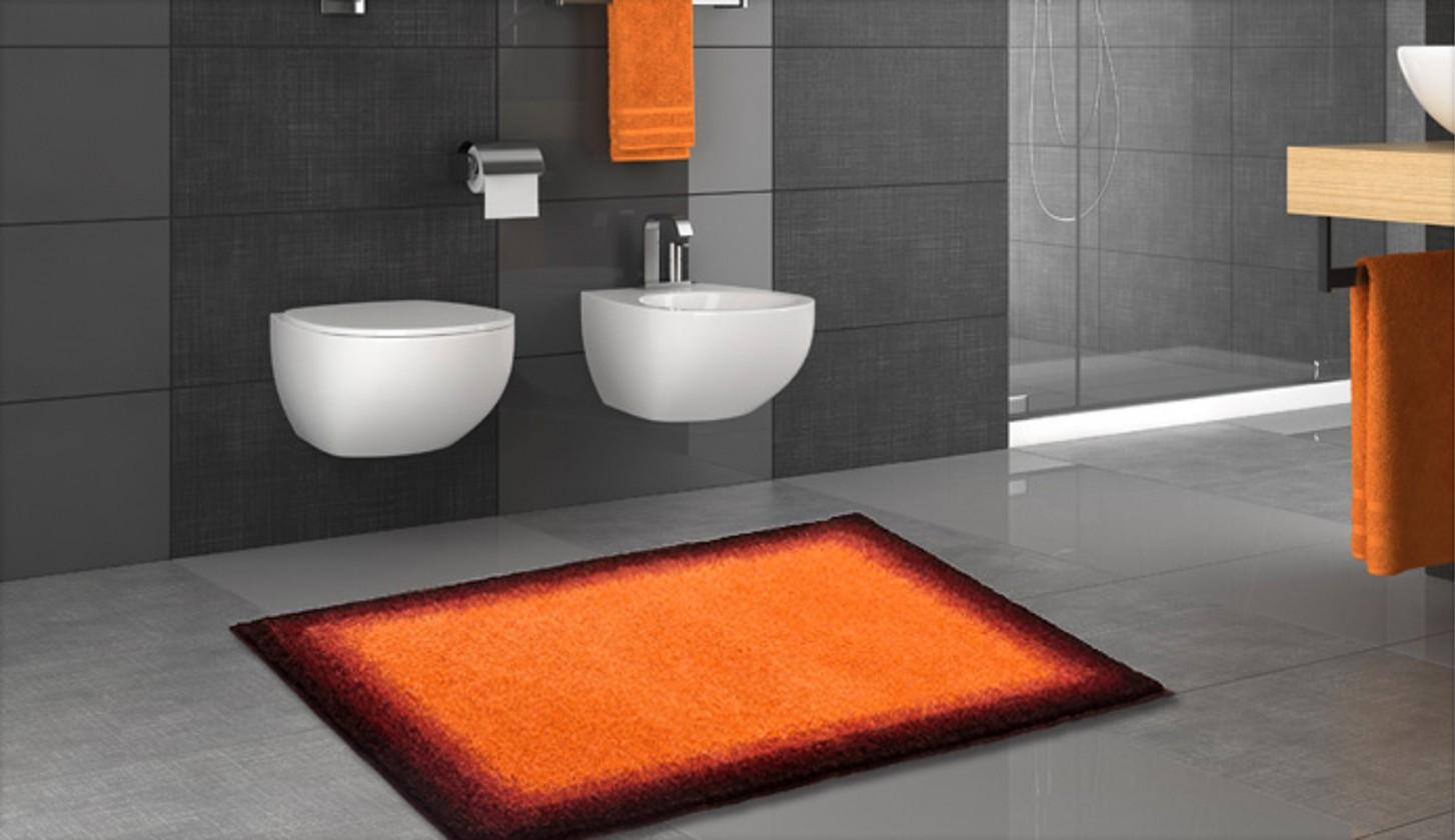 Nábytek Avalon - Koupelnová předložka 70x120 cm (oranžová-černá)