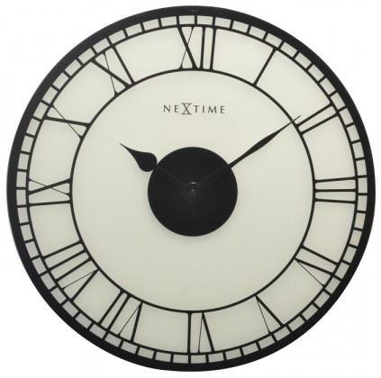 Nábytek Big Ben - hodiny, nástěnné, kulaté (sklo, černé)