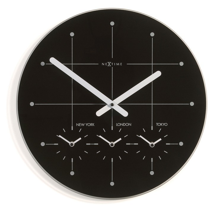 Nábytek Big City - hodiny, nástěnné, kulaté (sklo, černé)