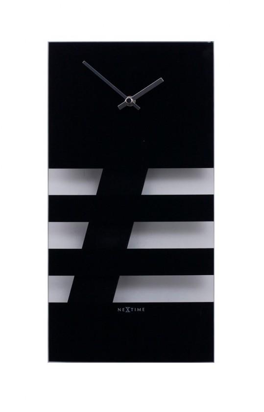 Nábytek Bold Stripes - hodiny, nástěnné kyvadlové (sklo, černé)