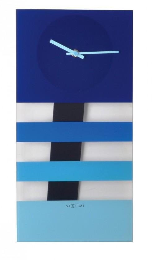 Nábytek Bold Stripes - hodiny, nástěnné kyvadlové (sklo, modré)