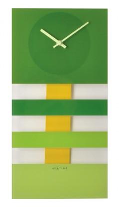 Nábytek Bold Stripes - hodiny, nástěnné kyvadlové (sklo, zelené)