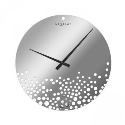 Nábytek Bubbles - hodiny, nástěnné, kulaté (sklo, bílé)