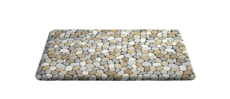 Nábytek Caresse - koupelnová předložka, 43x60 cm (dekor kamínků, béžový)