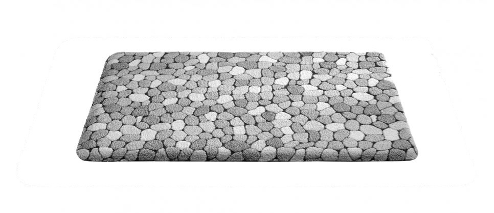 Nábytek Caresse - koupelnová předložka, 43x60 cm (dekor kamínků, šedý)