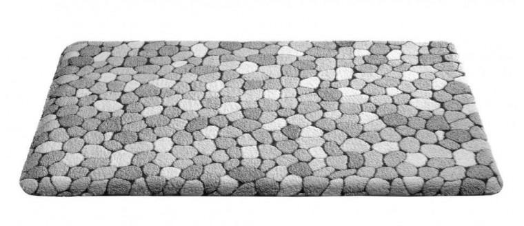 Nábytek Caresse - koupelnová předložka, 50x85 cm (dekor kamínků, šedý)