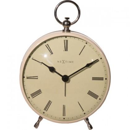 Nábytek Charles - hodiny, stojaté, kulaté (kov, bílé)