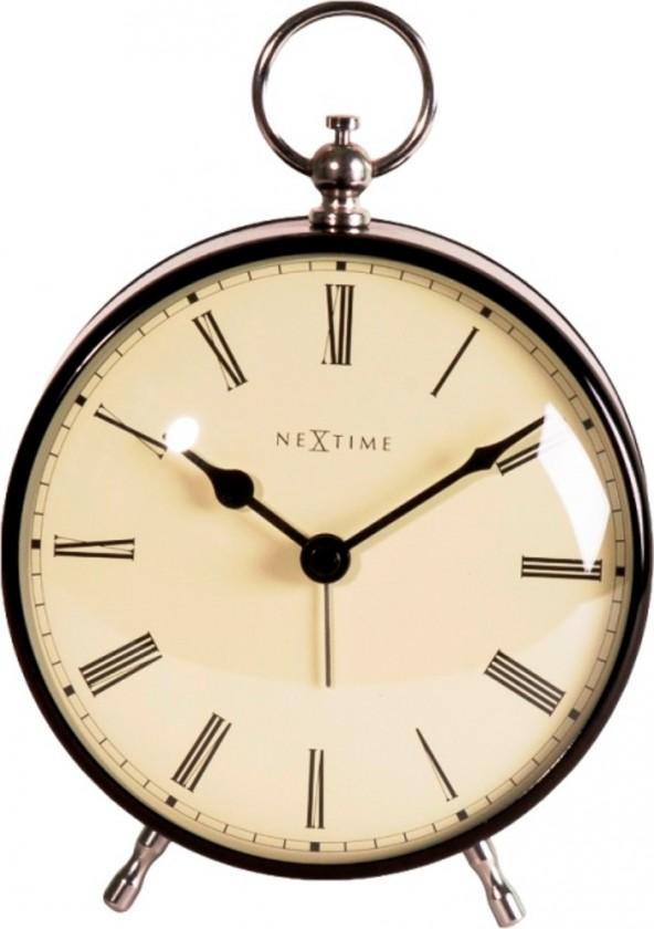 Nábytek Charles - hodiny, stojaté, kulaté (kov, černé)