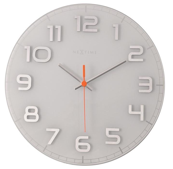 Nábytek Classy Round - hodiny, nástěnné, kulaté (sklo, nerez, bílé)