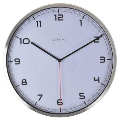 Nábytek Company number - hodiny, nástěnné, kulaté (kov, sklo, bílé)