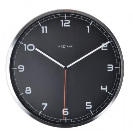 Nábytek Company number - hodiny, nástěnné, kulaté (kov, sklo, černé)