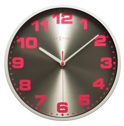 Nábytek Dash - hodiny, nástěnné, kulaté, (kov, sklo, barevné)
