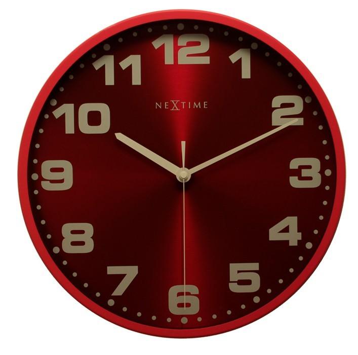 Nábytek Dash - hodiny, nástěnné, kulaté (kov, sklo, červené)