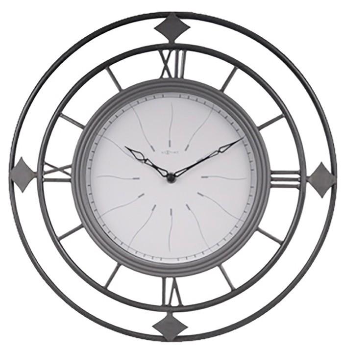 Nábytek Fence - hodiny, nástěnné, kulaté (kov, sklo, černé)
