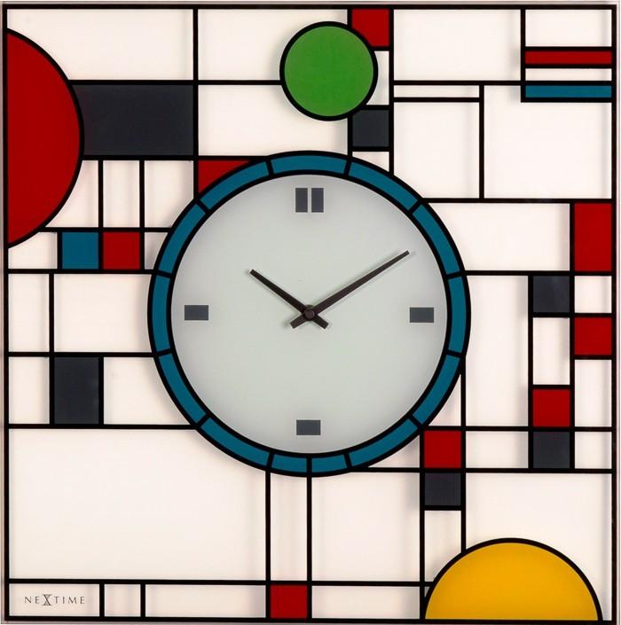 Nábytek Frank - hodiny, nástěnné, hranaté (sklo, barevné)