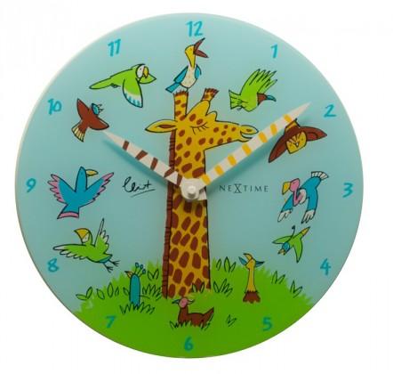 Nábytek Giraffe Joy - hodiny, dětské nástěnné, kulaté (sklo, barevné)