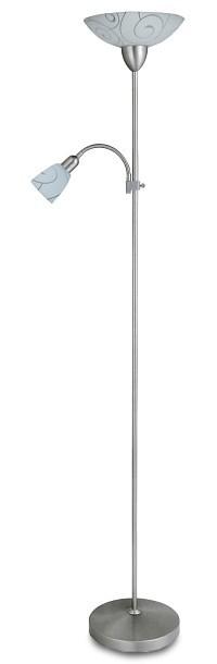 Nábytek Harmony - Lampa, E27 (hedvábně lesklá chromová/bílý vzor)