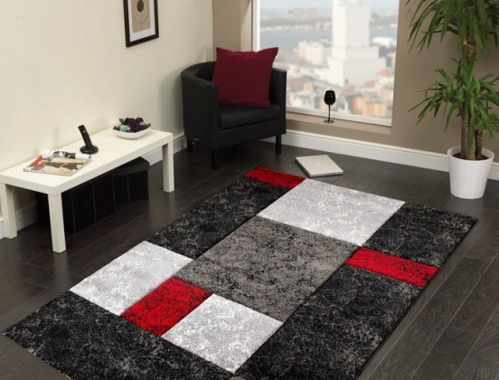 Nábytek Hawaii - koberec, 170x120cm (100%PP friese, černočervená)