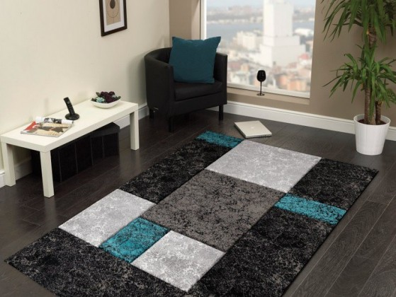 Nábytek Hawaii - koberec, 290x200cm (100%PP friese, černotyrkysová)