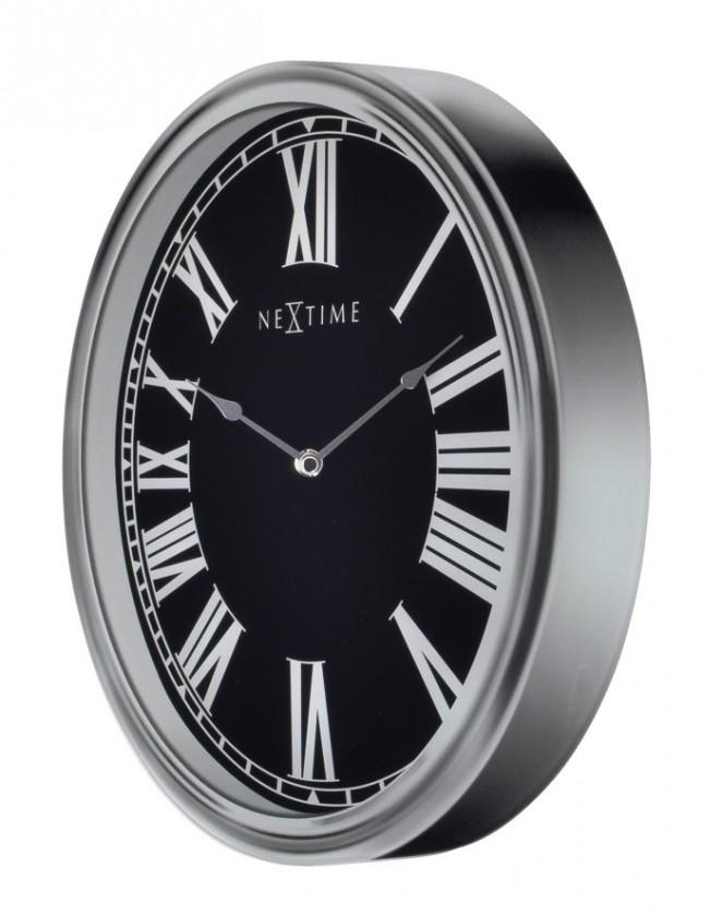 Nábytek Houdini - hodiny, nástěnné, kulaté (sklo, černé)