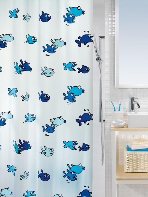 Nábytek Hugo-Sprchový závěs  180x200 cm(modrá)