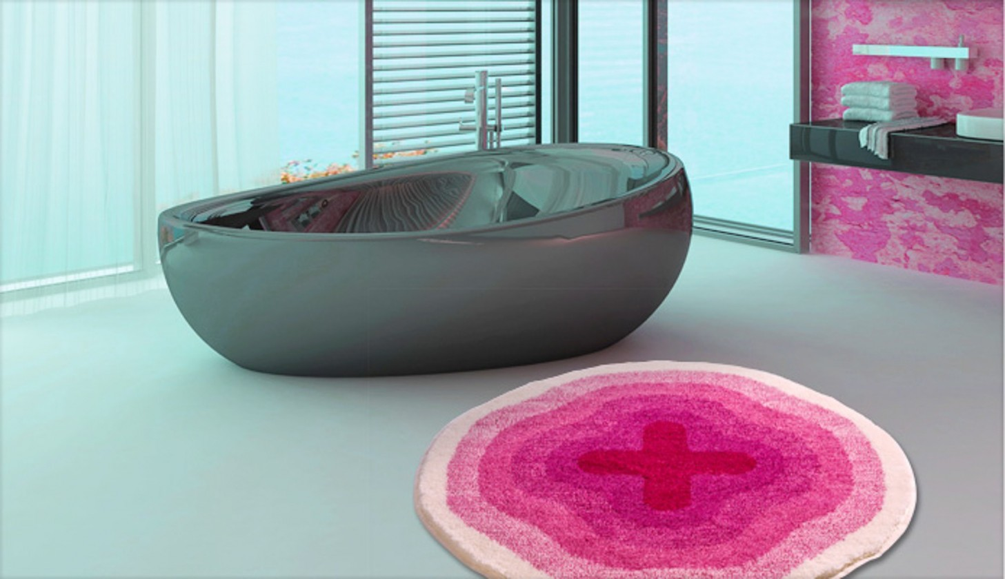Nábytek Karim 03 - Předložka kruh 90 cm (růžová)