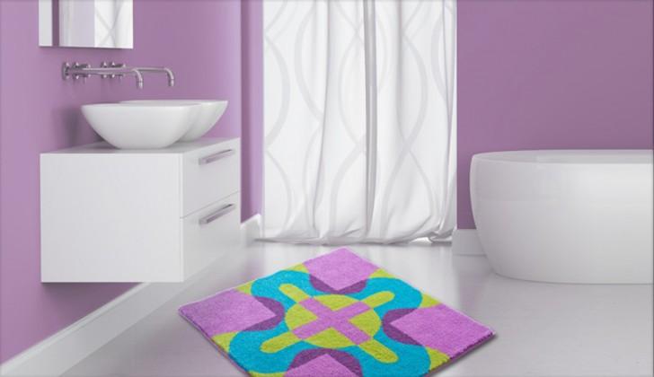 Nábytek Karim 26 - Koupelnová předložka 90x90 cm (fialová)