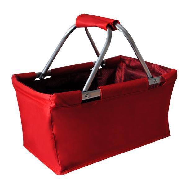 Nábytek Košík nákupní skládací (bavlna,kov,červená)
