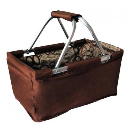 Nábytek Košík nákupní skládací (bavlna,kov,hnědá)