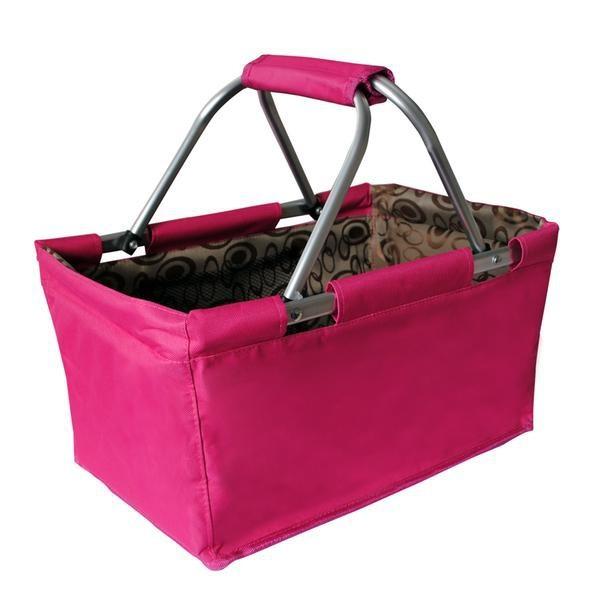 Nábytek Košík nákupní skládací (bavlna,kov,růžová)