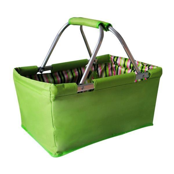 Nábytek Košík nákupní skládací (bavlna,kov,zelená)