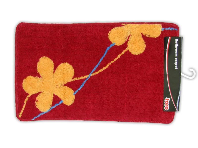 Nábytek Koupelnová předložka, 50x80 cm (červená s oranžovými květy)