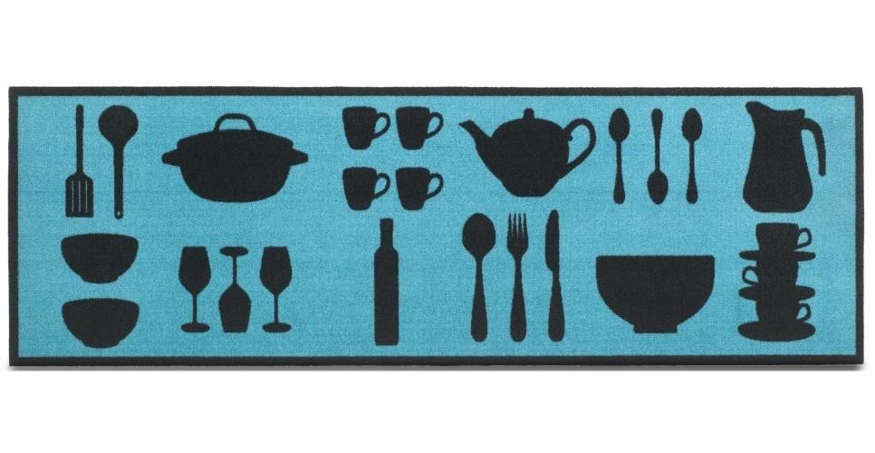 Nábytek Kuchyňská předložka Dishes tyrkys (modrá)
