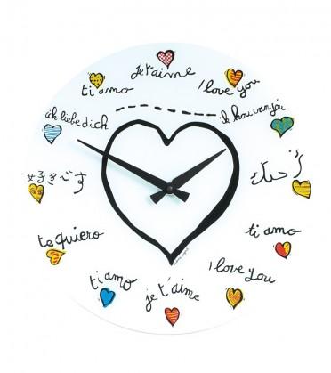 Nábytek Loving you - hodiny, nástěnné, kulaté (sklo, bílé)