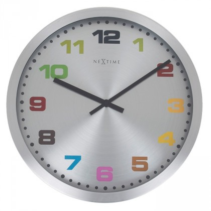 Nábytek Mercure - hodiny, nástěnné, kulaté (nerez, sklo, barevné)