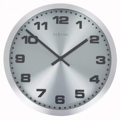 Nábytek Mercure - hodiny, nástěnné, kulaté (nerez, sklo, černé)