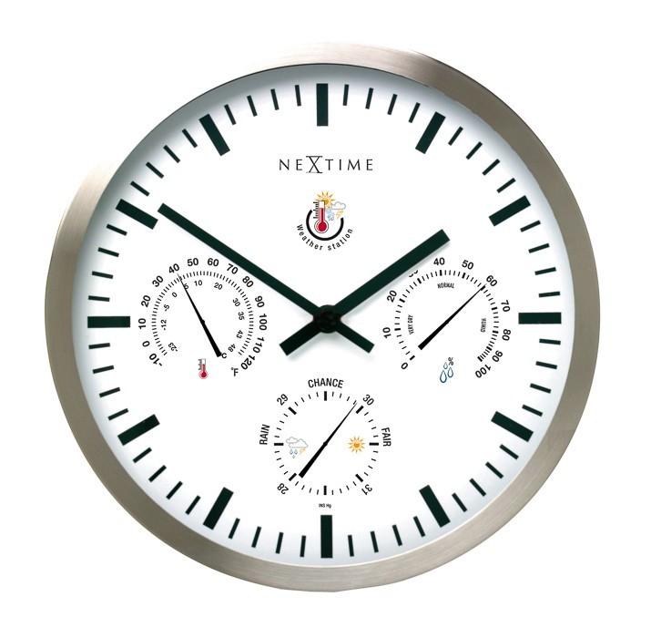 Nábytek Meteostanice - hodiny, nástěnné, kulaté (sklo, nerez, bílé)
