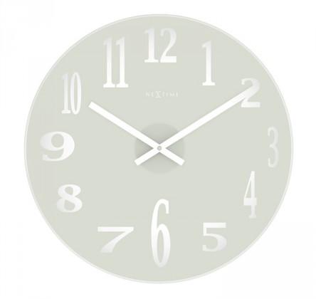 Nábytek Mirror - hodiny, nástěnné, kulaté (sklo, bílé)