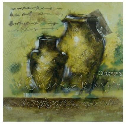 Nábytek Obraz na zeď - plátno (béžovo-hnědé vázy)