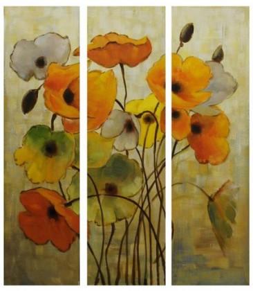 Nábytek Obraz na zeď - plátno, sada 3ks (barevné květiny)