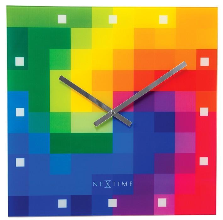 Nábytek Pixtime - hodiny, nástěnné, hranaté (sklo, barevné)