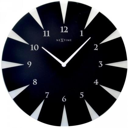 Nábytek Point - hodiny, nástěnné, kulaté (sklo, černé)